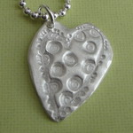 POLKA DOTS ~ FINE SILVER HEART NECKLACE