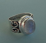 MOONSTONE SWIRLS SILVER RING
