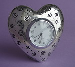 HEART CLOCK ~ PEWTER