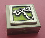 CHARM BOX~PEWTER GREEN DRAGONFLY