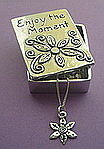 WISH BOX AND NECKLACE~PEWTER ~ ENJOY