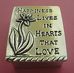 WISH BOX AND NECKLACE~PEWTER ~ HAPPINESS LIVES