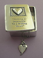 WISH BOX AND NECKLACE~PEWTER ~ NOTHING IMPOSSIBLE
