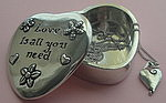 WISH BOX AND NECKLACE SET~PEWTER~LOVE IS ALL YOU NEED