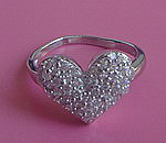 SHIMMERING HEART STERLING SILVER RING