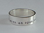 ALLI'S STAMPED RING~ LIVE WITH AN OPEN HEART