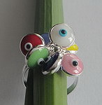 STERLING SILVER EVIL EYE CHARM RING
