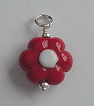 HAND MADE GLASS BEAD~RED FLOWER