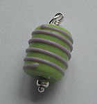GLASS BEAD~GREEN WITH PINK STRIPES