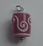 GLASS BEAD~PINK SWIRLS