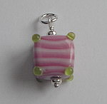 GLASS BEAD~ PINK AND GREEN STRIPE CUBE