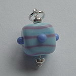 GLASS BEAD~ BABY BLUE AND PINK STRIPES
