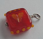 GLASS BEAD~ORANGE HEART SQUARE