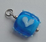 GLASS BEAD~BLUE ON BLUE HEART SQUARE