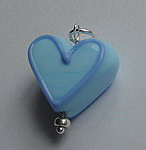 GLASS HEART BEAD~BLUE LINED