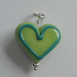 GLASS HEART BEAD~GREEN ON GREEN