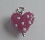 GLASS BEAD~PINK POLKA DOTS