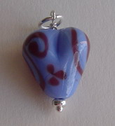 PERIWINKLE AND BURGUNDY GLASS HEART