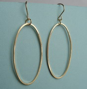 GOLD PLATED SHINY OVAL HOOP DANGLES