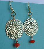 GOLD PLATED FILIGREE ORANGE DANGLE EARRINGS